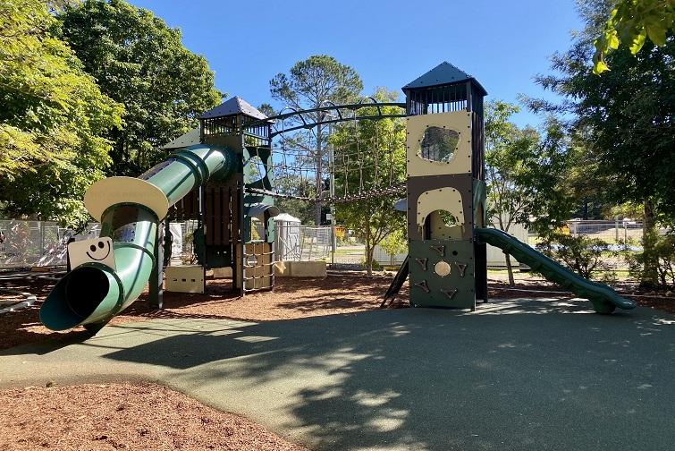 Play equipment including slide and fort at John Scott Park, Samford