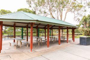 picnic shelter at doug larsen park.