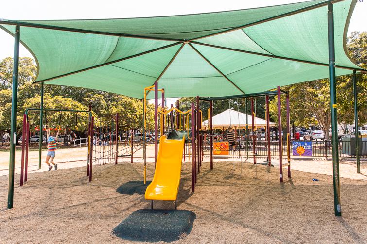 Bulimba Memorial Park rope area slide