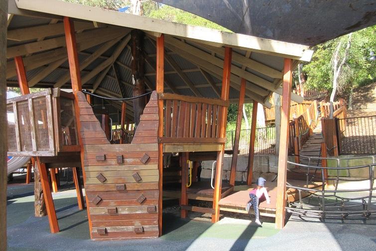 climbing wall, wooden fort, lower moora park