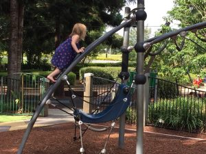 child climbing on net structure at pine rivers park
