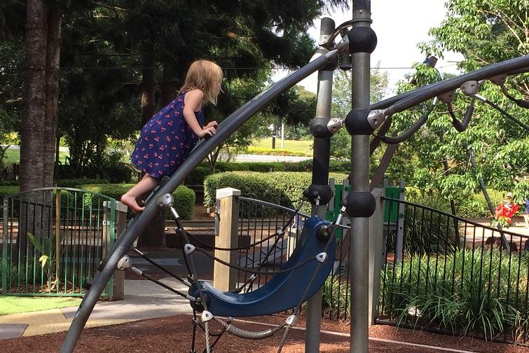 child climbing playground, pine rivers park
