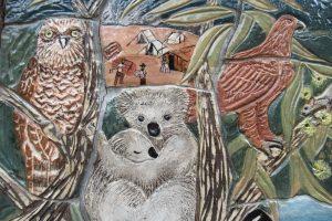 koalas and owl mural
