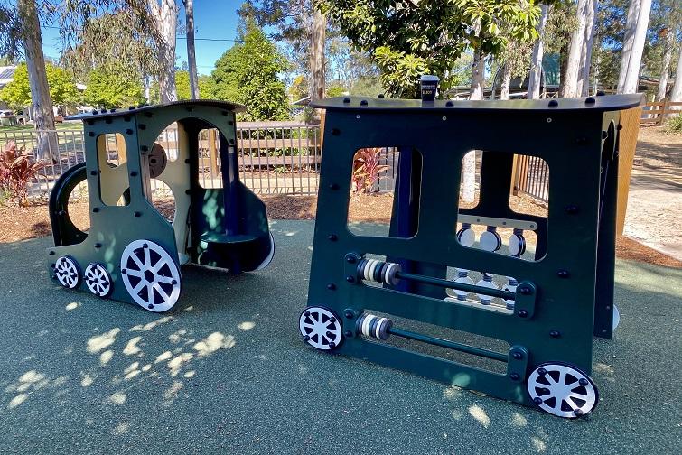 Train play equipment in John Scott Park Samford