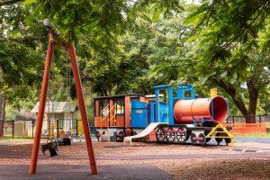 train themed playground in brisbane.
