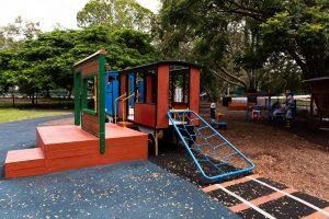 playground train themed.