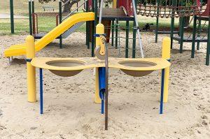 yellow sand play equipment in beth boyd park thorneside