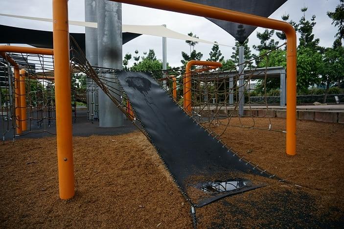 climbing net at ken fletcher park