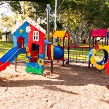 Forestglen park new playground fort, bridge and slide