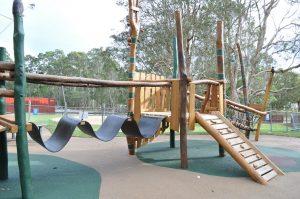 a plastic wobbly bridge in playground