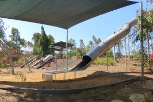 Huge tube slide in a park