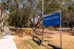 Hawthorne Park sign