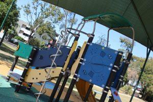 shaded kids playground.
