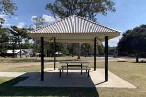 shaded picnic table.