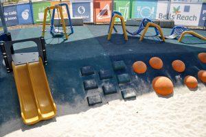 climbing wall at bells reach playground.