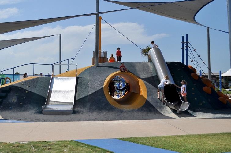 bells reach playground slide.