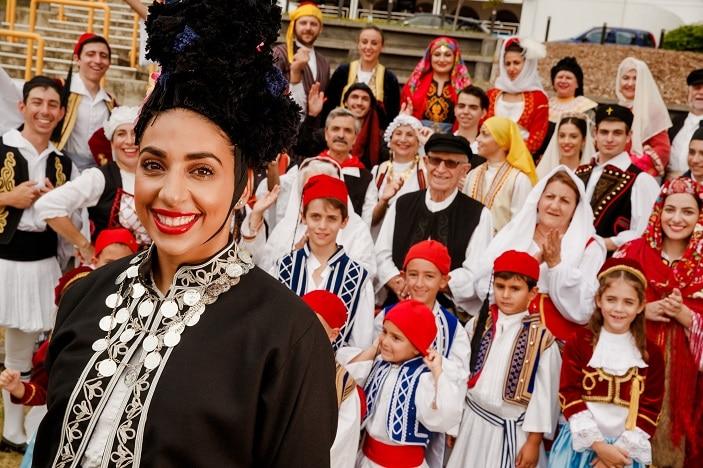 paniyiri greek festival dancers, traditional greek costume