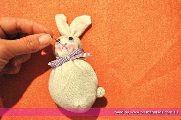 Making a no-sew sock bunny
