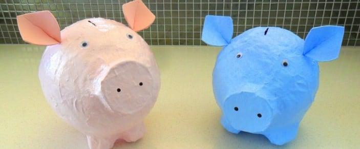 Making papier mache piggy banks