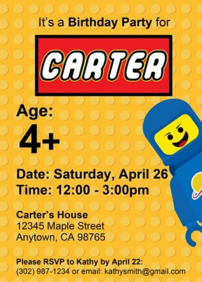 ultimate lego party ideas • brisbane kids, Party invitations
