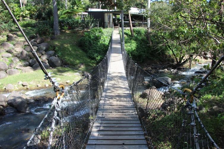 suspension bridge over Cedar Creek at Thunderbird Park