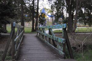 bridge in shady spot.