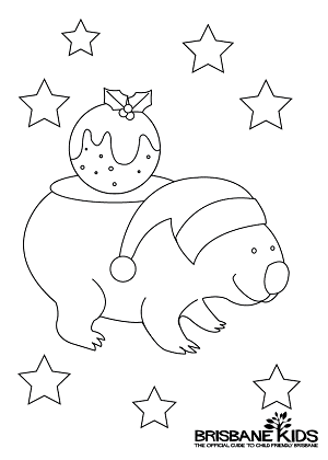 Christmas Colouring In Wombat