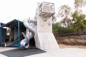 enclosed tunnel slide on multi storey playgrounnd at milton.