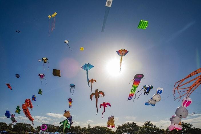 kitefest flying arena, kites in the sky,