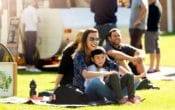 Parks Alive Roma Street Parkland family, family picnic, family on the lawn, live music