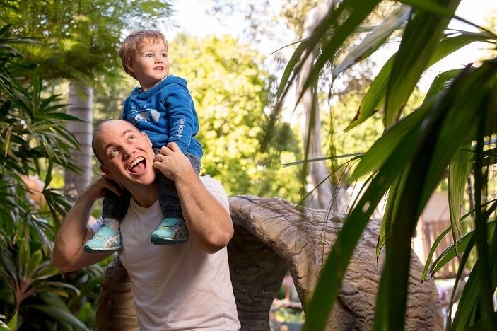 Parks Alive Roma Street Parkland father and son, gardens, exploring, park, parkland