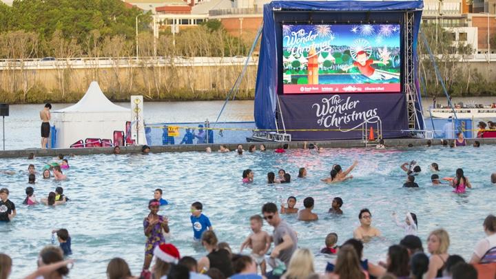Christmas beach cinema south bank brisbane kids for Pool show qld
