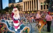 santa and sleigh, City Hall, King George Square, Christmas, reindeer