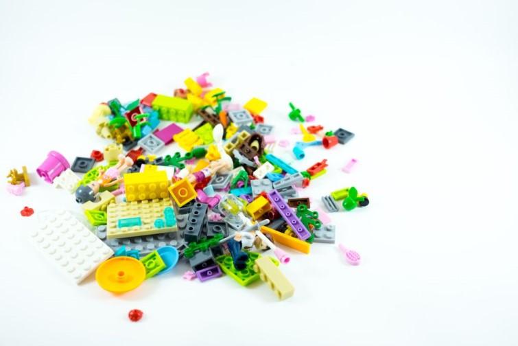 pile of Lego bricks on white table