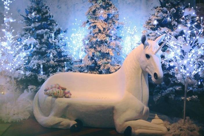 Do You Bee-lieve, life size unicorn seat, Christmas display, magical fairyland