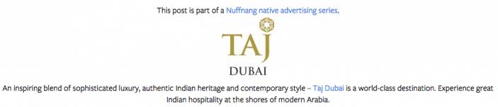 Footer - Taj Dubai