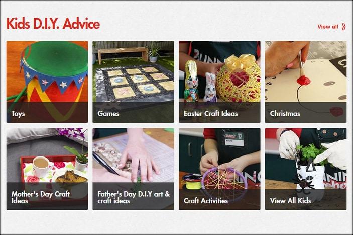 Screenshot of kids DIY videos on the Bunnings Warehouse website