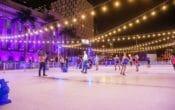 skating under lights, city hall, brisbane, figure skaters, staking at festival, ice skating rink outdoors, ice skating