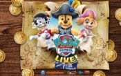 Chase, Marshal and Skye surrounded by pirate gold coins in live show poster