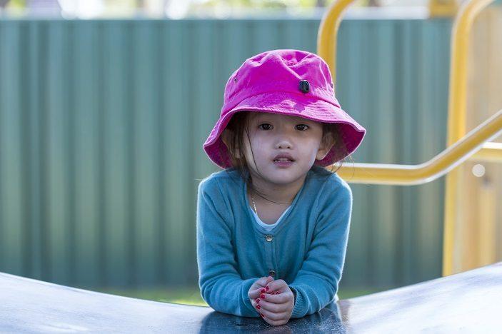 aeiou, child, pink hat, thinking, potential
