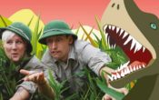 dinosaur and explorers in Dinosaur time machine show
