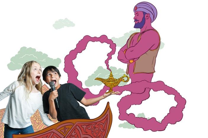 NIDA kids with microphone and genie