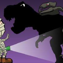 A night at the museum, dinosaur and mummy holding torch,