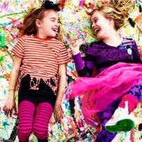 ikea Brisbane school holiday activities, girls having fun, colour, splatter paint, ikea, craft