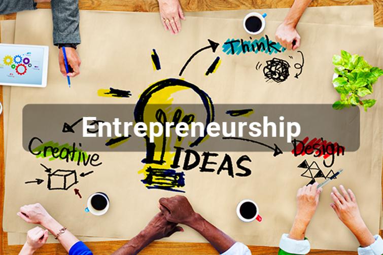 Entrepreneurship text over ideas image