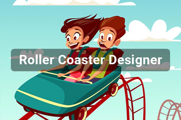 Roller Coaster Designer text over roller coaster graphic