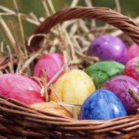 Basket with coloured eggs