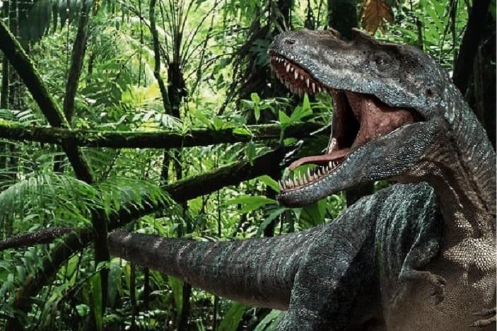 tyrannosaurus rex roaring in the jungle