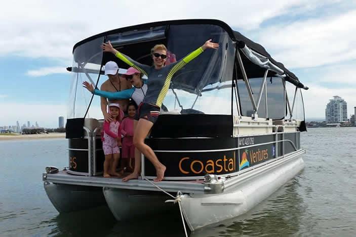 Family on hire boat, Coastal Ventures