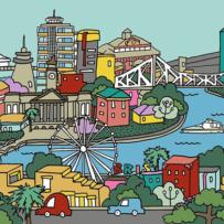 cartoon drawing of Brisbane, Brisbane River, Skyline, Wheel of Brisbane, Storey Bridge